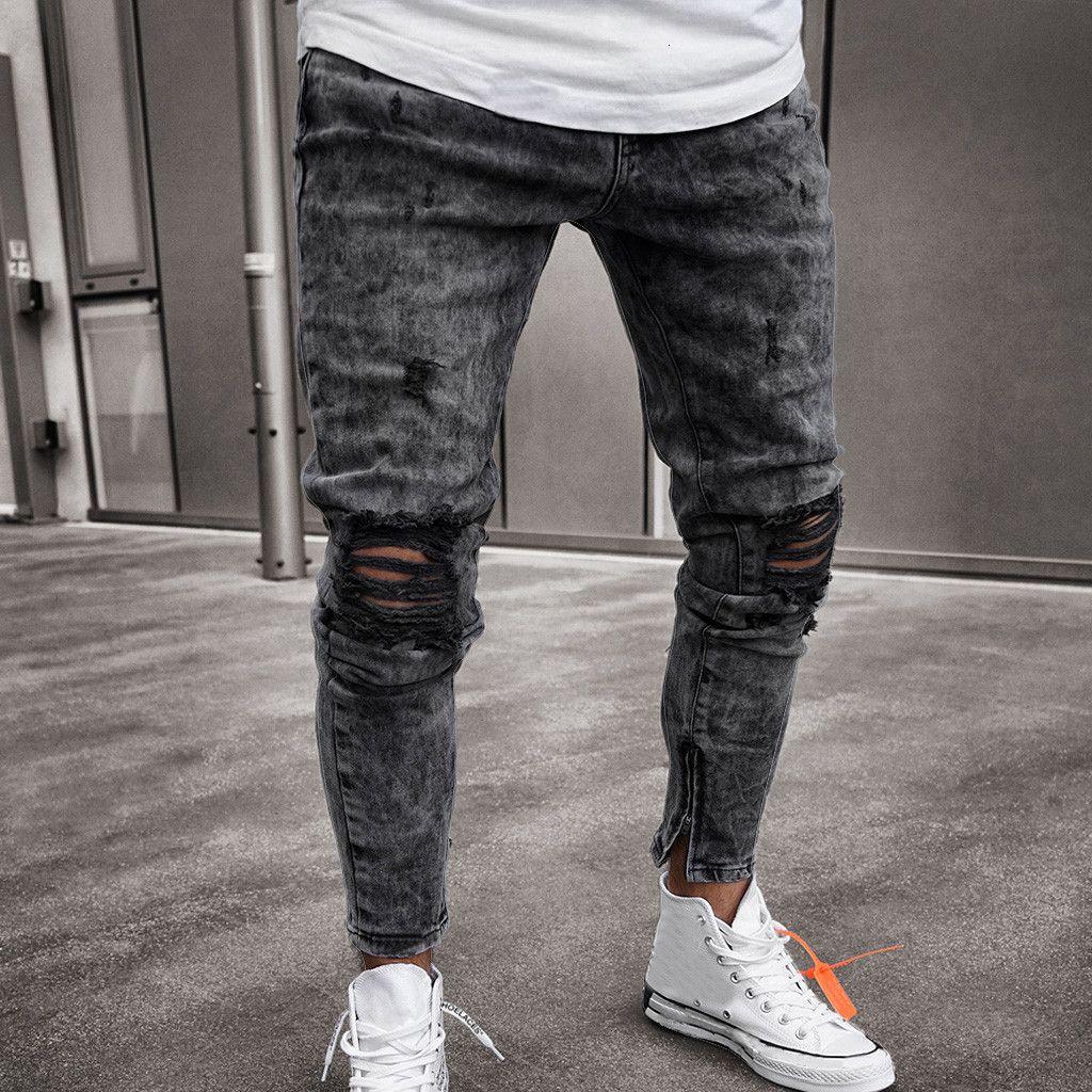 feitong Homens de algodão de Primavera 2019 MenClothes Denim Calças afligido Freyed Slim Fit Calças Casual Estique rasgado JeansMX190905