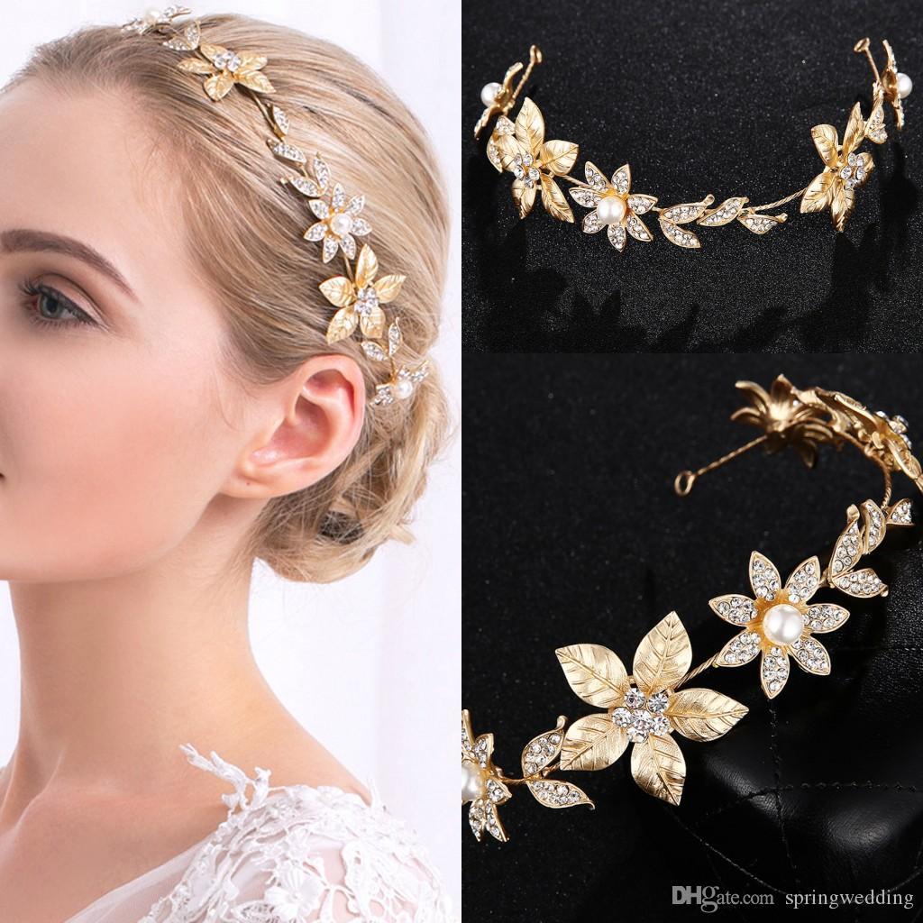Lega d'oro Principessa Copricapo Corone Tiara per matrimoni Donne Moda Flora Progettato per il partito Cristalli Hairbands CPA3163