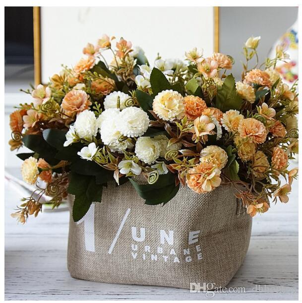 الزهور الحرير الزهور الاصطناعية القرنفل bouquent عن الأم هدية عيد ديكور المنزل 11 رؤساء زهرة القرنفل الحرير باقة