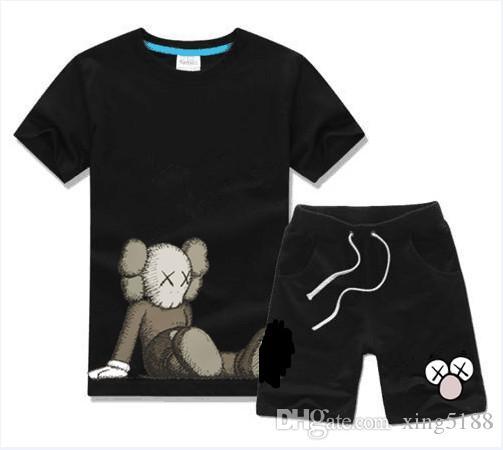 Улица Сезам мальчиков и девочек Дизайнерские футболки и шорты костюм Марка костюмы 2 Детская одежда Set Горячие продажи Мода лето Детско