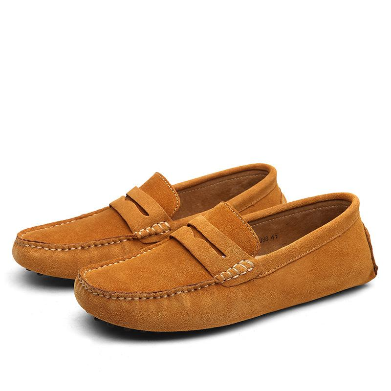 new comfortable male casual shoes genuine leather man loafers solid comfortable walk shoes slipon round toe 10 colors large size 3847