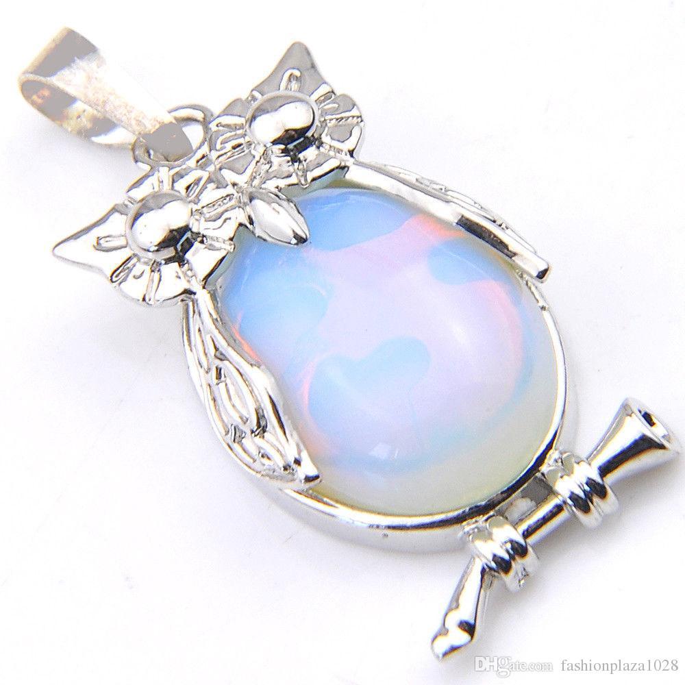 LuckyShine main énorme ovale arc-en-Moonstone Hibou Collier Pendentifs Argent Mode femmes mariage collier pendentif