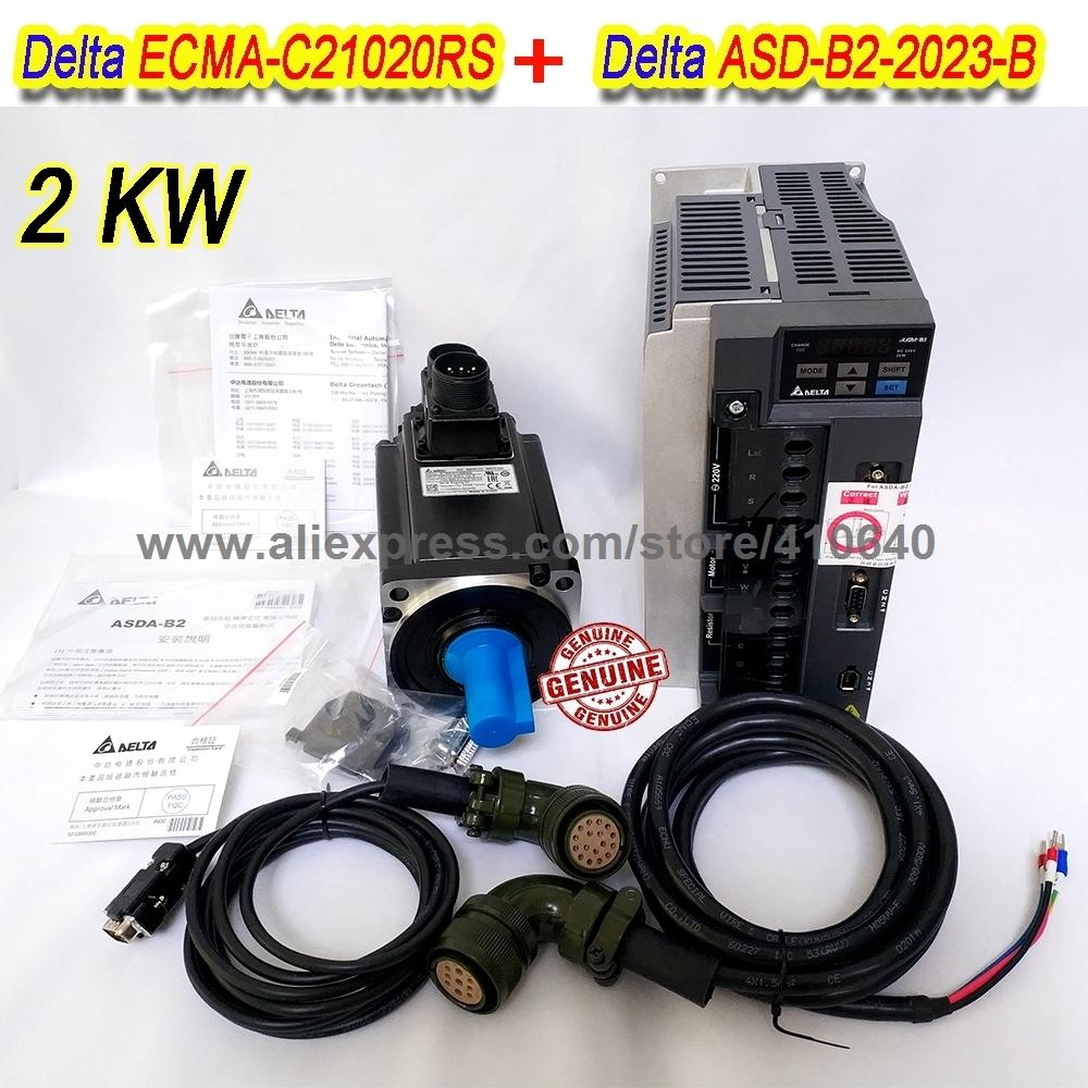 Set Sales Delta 2000 W Servo Motor ECMA-C21020RS And Servo Drive ASD-B2-2023-B with Cable with 5000 rpm Better Quality