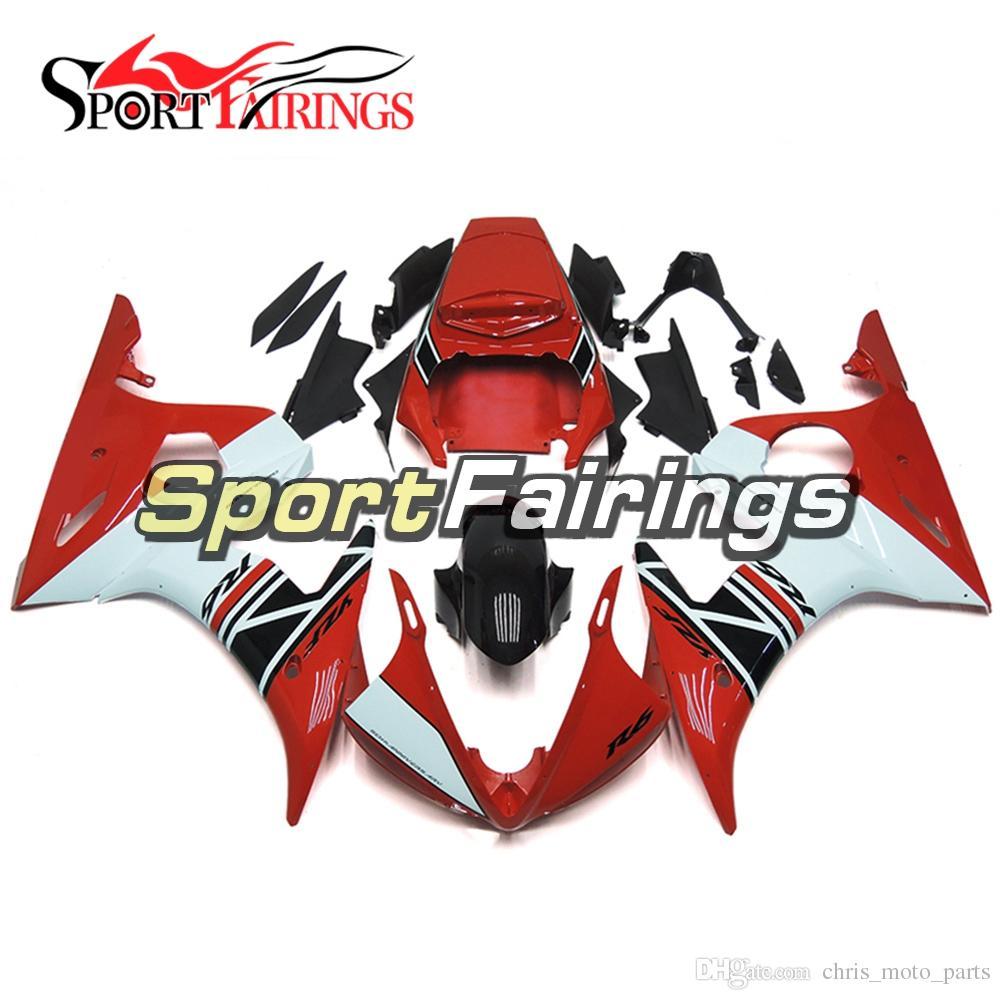 Full Sportbike Body Work Cowling For Yamaha YZF-600 R6 Year 2003 2004 Complete Plastic Fairings 2003 2004 White Red Bodywork Kit