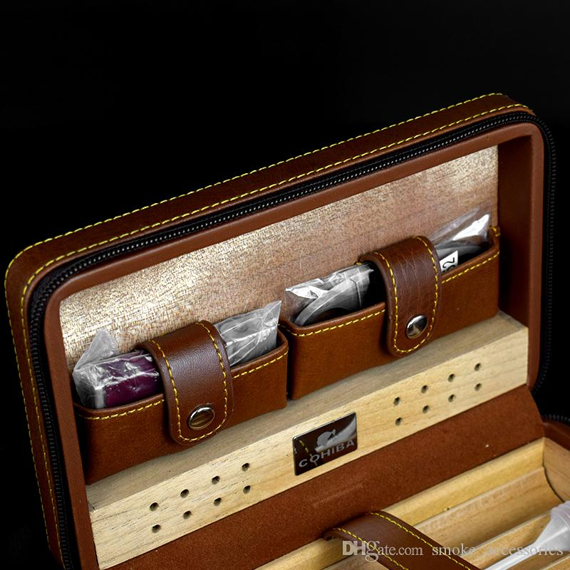 High-end quality Brown color genuine leather cedar cigar humidor with cutter and lighter can hold 4 cigarette