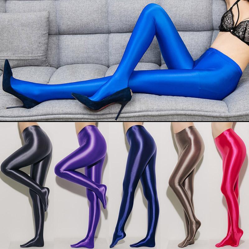 LEOHEX New Sexy Strümpfe Satin Glossy Opaque Strumpfhose glänzende Strumpfhosen Sexy Strümpfe feste Hose mit hohem Taille Strumpfhosen