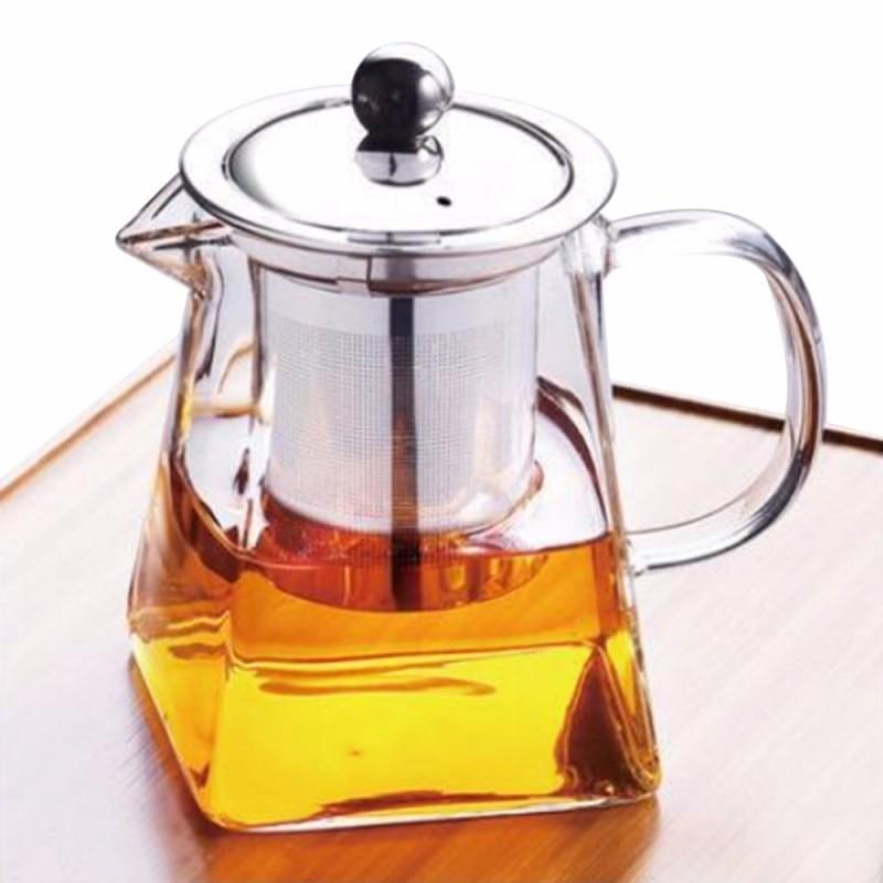 Aço inoxidável vidro Bule Limpar Borosilicate Bule de Chá Água Café Leite Beber Copos Home Office Water Container