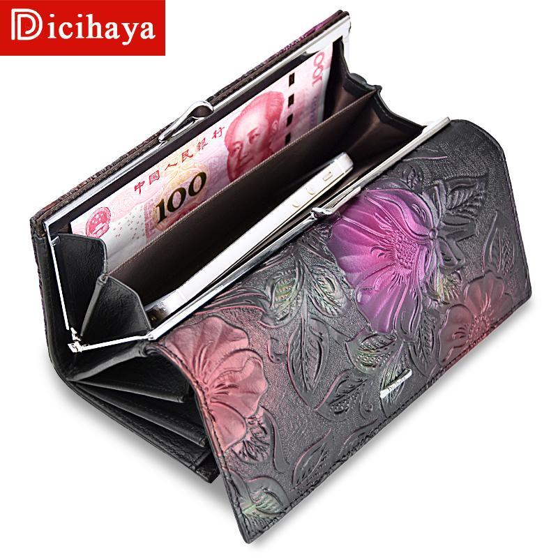 Dicihaya Neu Kommen Damen Geldbörsen Leder Frauen Lange Geldbörse Blume Präge Weibliche Haspe Brieftasche Geldscheinklammern Karten Geldbörse A142-911 J190718