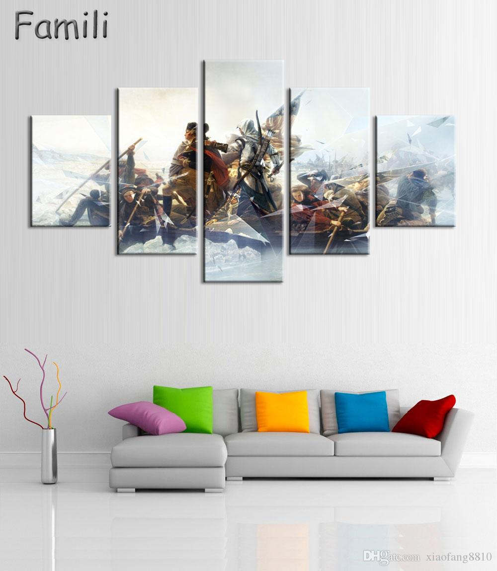 5Panel Factory Price Movie Assassins Creed Poster Wall Modular Picture Canvas Paintings For Living Room Bedroom Kids Room Wallpaper