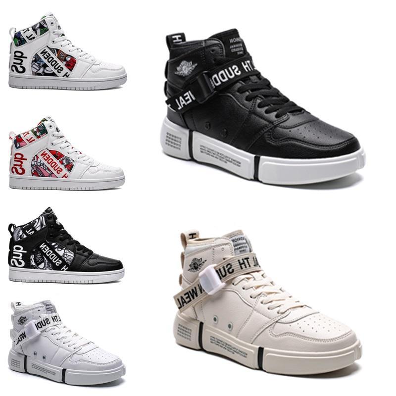 горячий свободный корабль Non-Brand Men 1 Полезность Классический черный белый Женщины Повседневная обувь Скейтбординг высокого Тренажёры Спорт кроссовки 36-44 стиль # 201