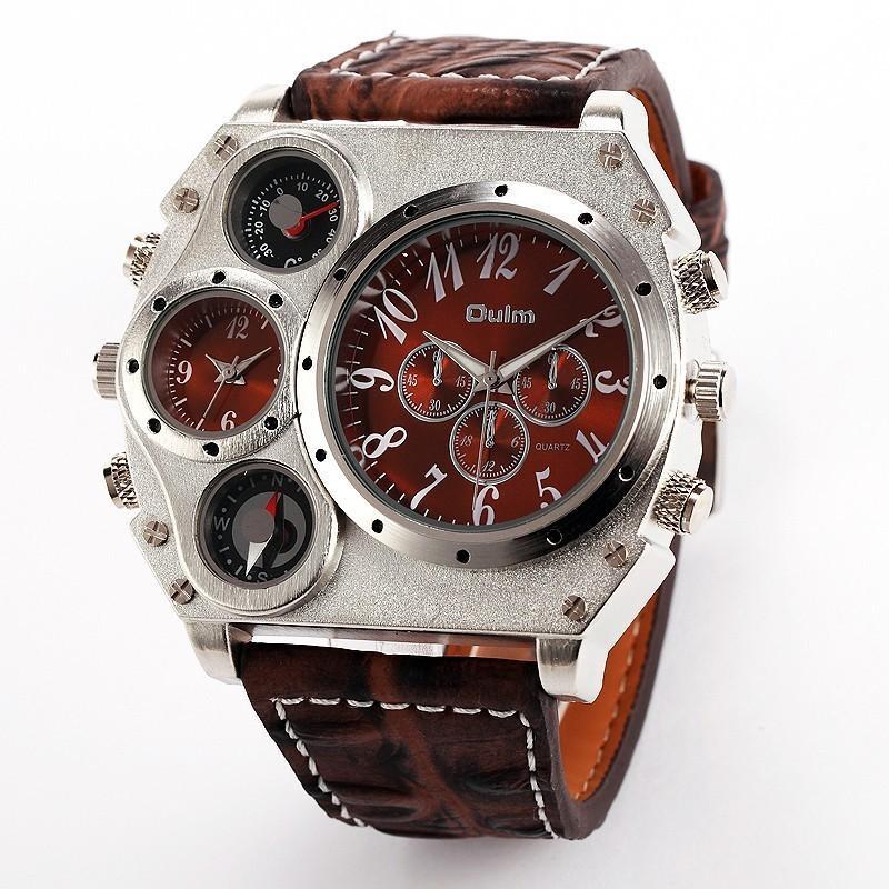 Oulm 1349 Reloj Hombre Homens Dual Movement Esportes Militares Relógio Com Bússola Termômetro Decoração Masculino Relógio Relogio masculino Y19052004