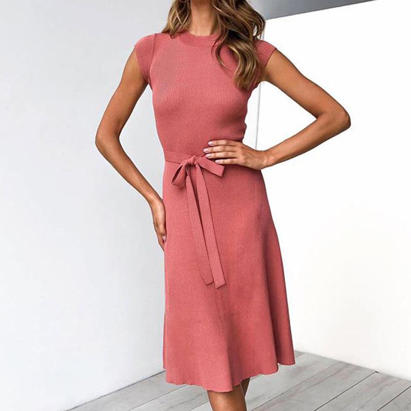 mulheres vestido de verão Outono 2019 sexy do sexo feminino Mulheres vestidos redondo do laço no pescoço de manga curta vestido de fundo ocasional feminino das mulheres Vestidos