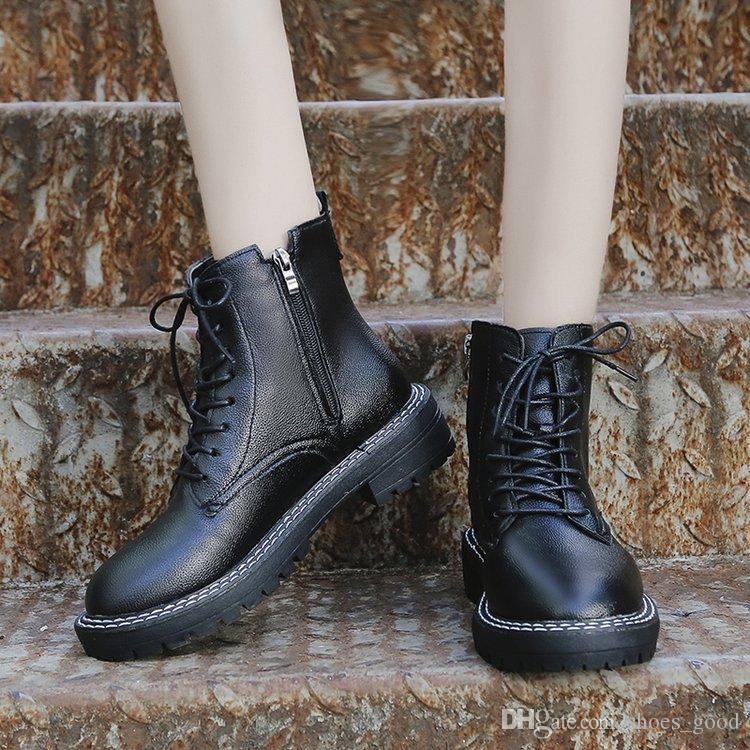 Leder Booties Vogue Daily Modern Stiefel Damen Casual Schuhe Frauen Classic Schwarz Schneeschuhe Echtes Boot Großhandel Mädchen Fashion Vintage Winter QsdCxothrB
