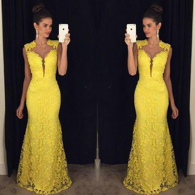 Full Lace Sheath Evening Dresses Long 2019 New Floor Length Elegant Party Formal Robe De Soiree Long Yellow Prom Dresses Pageant Gowns DE024