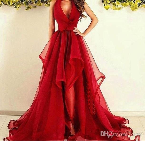 Sexy Red Halter Prom Formal Dresses 2020 V neck A Line Tulle Sweep Train Simple Ruffle Custom Made Formal Evening Wears