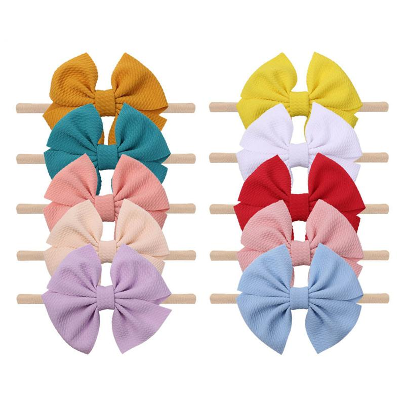 Infant Baby Solid Headband 5 Inch Big Bows Nylon Hairdbands Kids Headbands Girls Party Boutique Hair Ties Baby Accessories 060522
