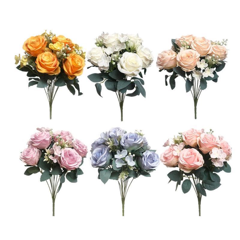 الاصطناعي روز زهرة حفل زفاف الحدث الزخرفة قماش الحرير الزهور ديكور منزل وهمية روز محور
