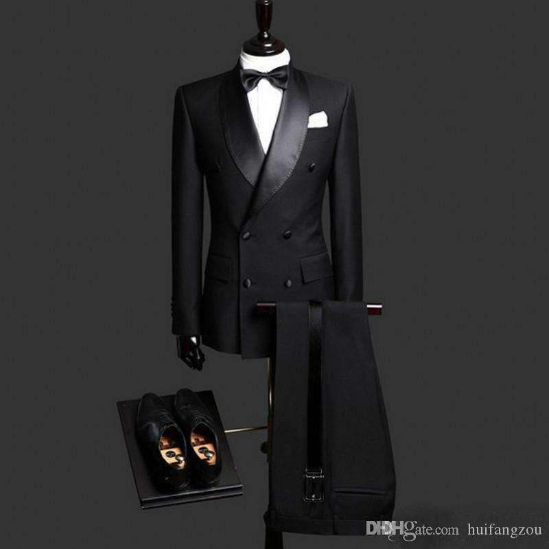 Mens Suits Black Groom Tuxedos Shawl Lapel Slim Fit Bridegroom Formal Wear Best Mens Suit For Weddings (Jacket+Pants)