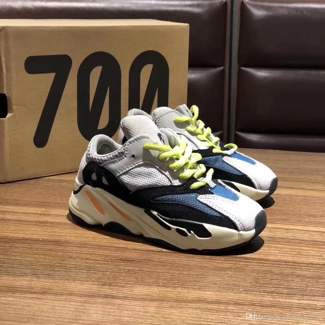 700 Kinderschuhe Designer Wave Runner Solid Grau Inertia Mauve Baby-Outdoor-Schuhe Kanye West 700 Laufschuhe Kinder Turnschuhe Größe 28-35