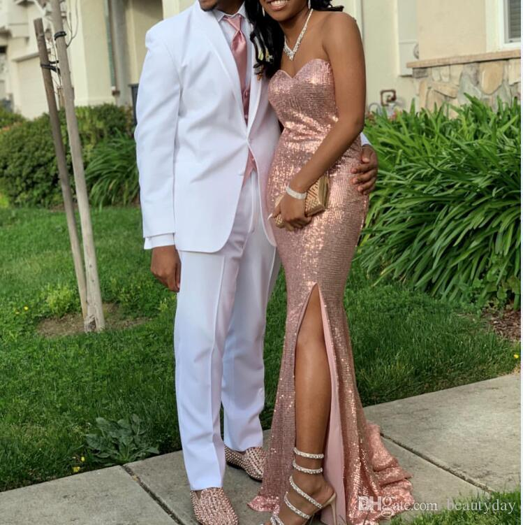Classy White Wedding Tuxedos Groom Suits 2019 New Custom Made Business Man Graduation Prom Party Attire 2 Piece Set (Jacket + Pants +Tie)