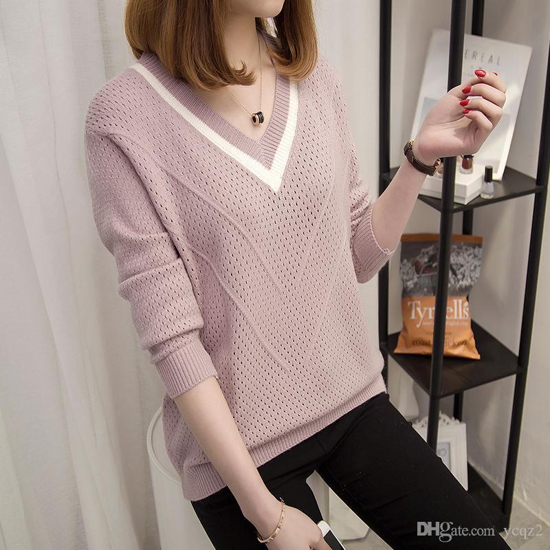 Resorte del otoño de las mujeres del suéter delgado caliente Jerseys hueco atractiva suéteres mujeres sueltan de punto Mujer con cuello en V suéter fresca pequeña
