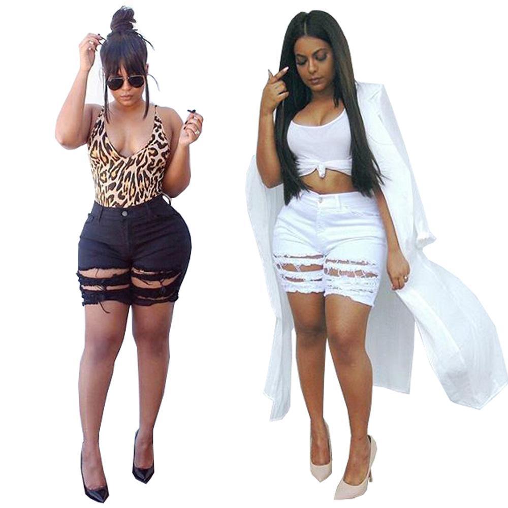 Trou Skinny femmes sexy Shorts d'été Casual-dessus du genou Shorts Couleur Solid Slim Vêtements pour femmes