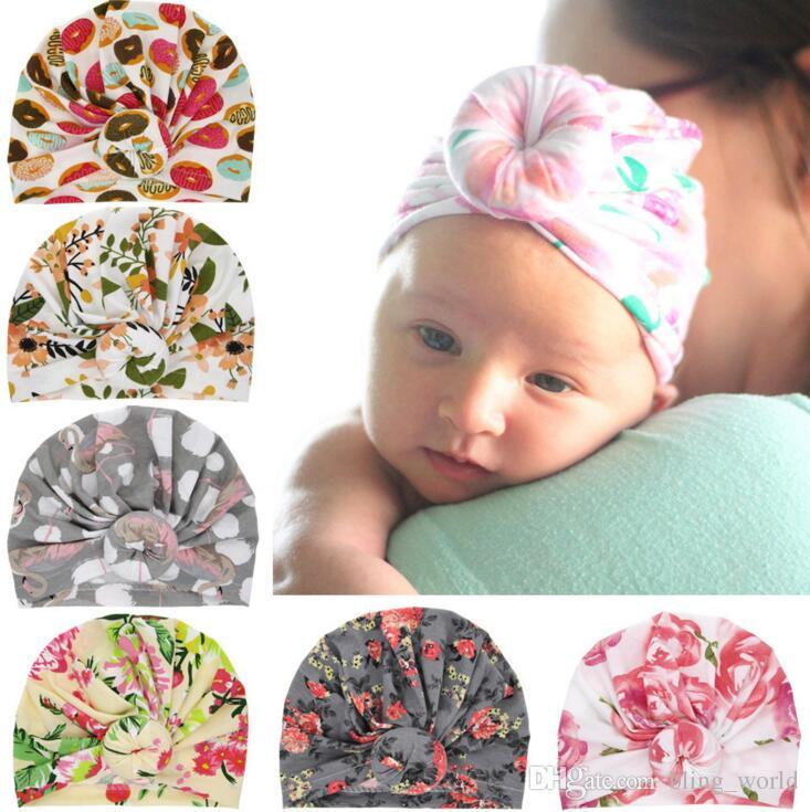 Girls Floral Print Beanie Hat Kids Baby Turban Knotted Headband Cute Baby Cap