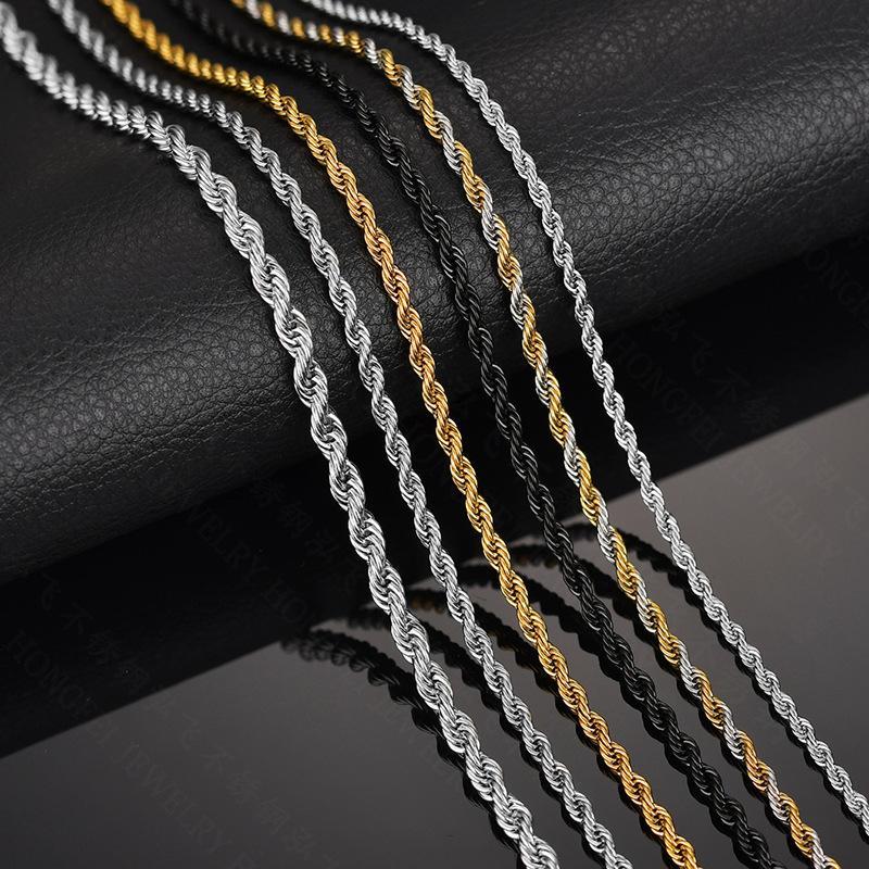 316L Edelstahl Breite 3mm / 5mm / 6mm Gold Silber Halskette Männer Seil Kette Verdreht Halskette Schmuck 20-30inch Länge