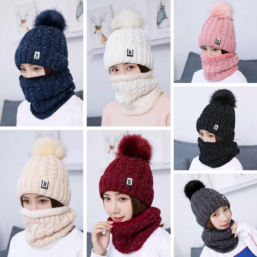 Fashion Knit Hat Scarf Set Winter Pom Pom Knitted Beanie Hats Woman Crochet Scarves Outdoor Warm Ski Cap TTA1826