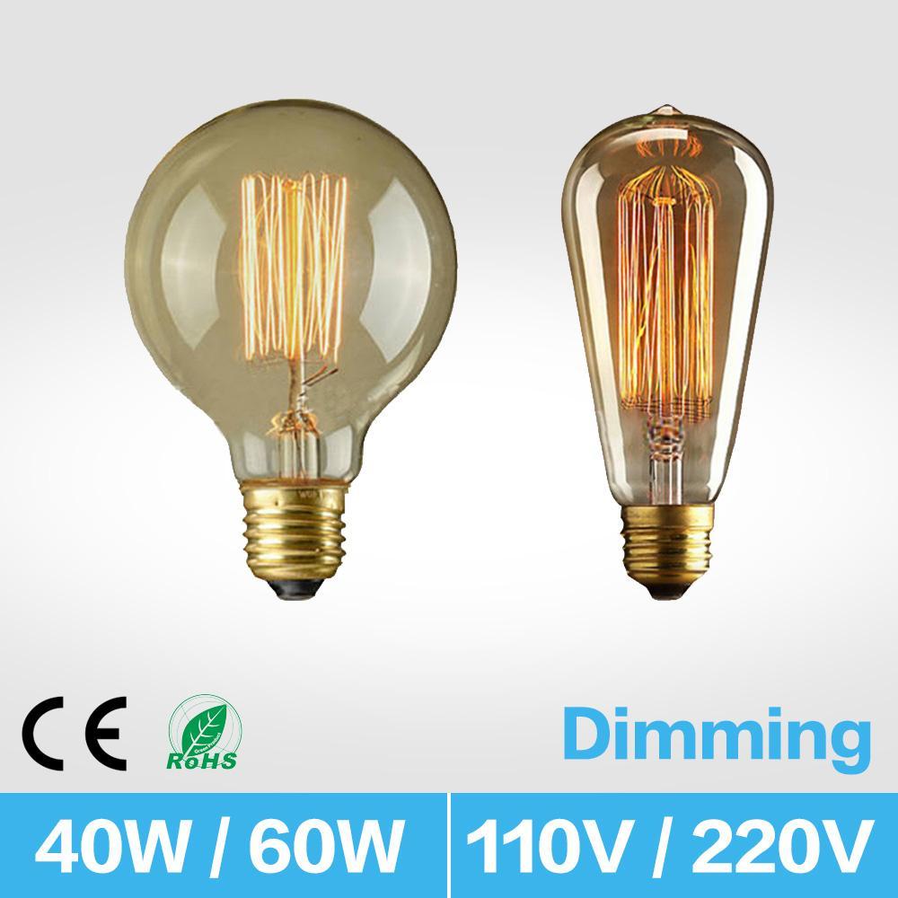 E27 디 밍이 텅스텐 필라멘트 램프 ST64 40W 복고풍 에디슨 텅스텐 필라멘트 전구 투명 유리 백열 전구 AC220V AC110V 10154