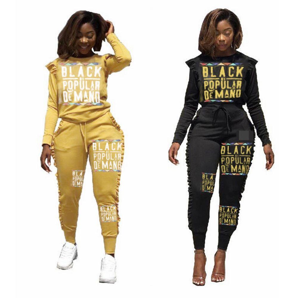 바지 검은 색 노란색 스포츠 의상의 L-JJA1992과 여성 문자 레이스 운동복 봄 가을 디자이너 패션 후드 티 2 종 세트 톱