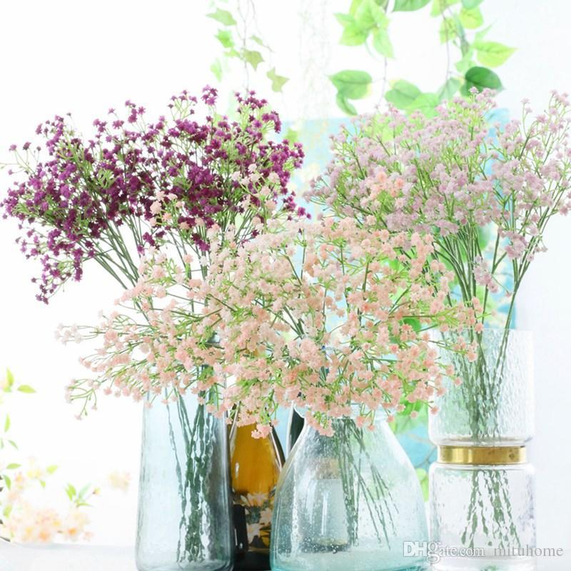 1 Adet DIY Yapay Çiçek Sahte Gypsophila Silikon Bitki İçin Düğün Ev Parti Süsleri Anneler Günü Hediyeleri