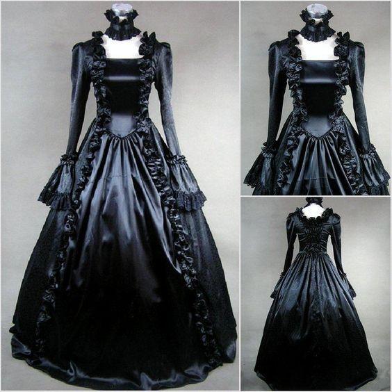 moda histórica barroca Vestidos de novia góticos negros Vestidos de novia de vampiro victoriano de 1800 con manga larga medieval País vestido nupcial