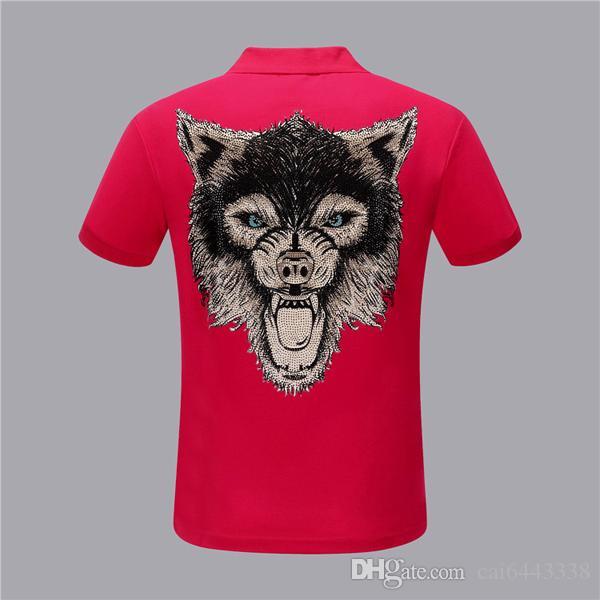 Nova Moda Animal Impresso # 89 Homens Camisa Polo Lapela Gola Slim Fit Tops de Manga Curta Casual Clássico Negócio Masculino Algodão PP Camisas Polo