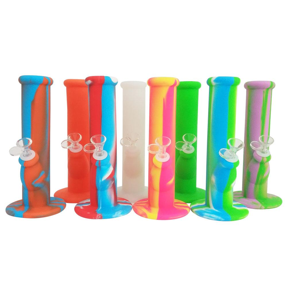 10 Inch Silicone Smoking Bong With Glass Bowl Unbreakable Foldable Smoke Wax Dabs Oil Dry Herb Tobacco Flower Straight Tube Water Pipes