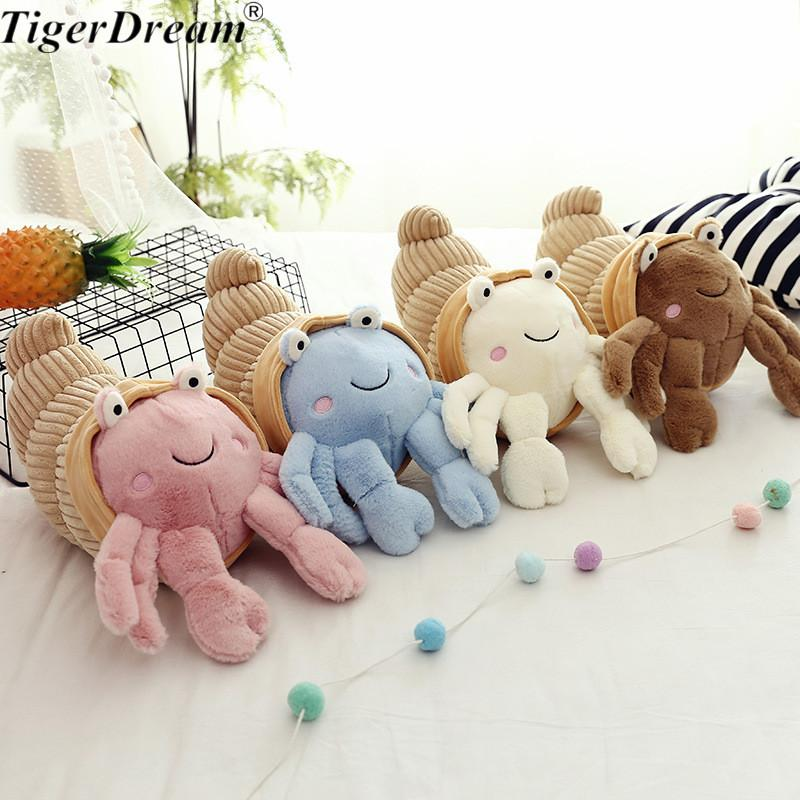 One Piece Creative Simulation Hermit Crab Plush Toys Soft PP Cotton Stuffed Animals Crabs Dolls Cushion Sleeping Pillows 4 Color