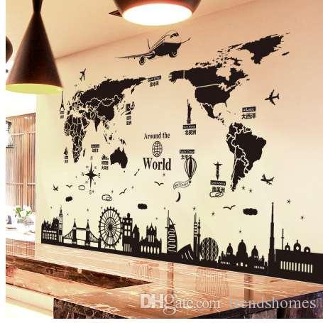 [SHIJUEHEZI] World Map Adesivos de Parede DIY Europa Edifícios de Estilo Decalques de Parede para Sala de estar Empresa Escola Escritório Decoração