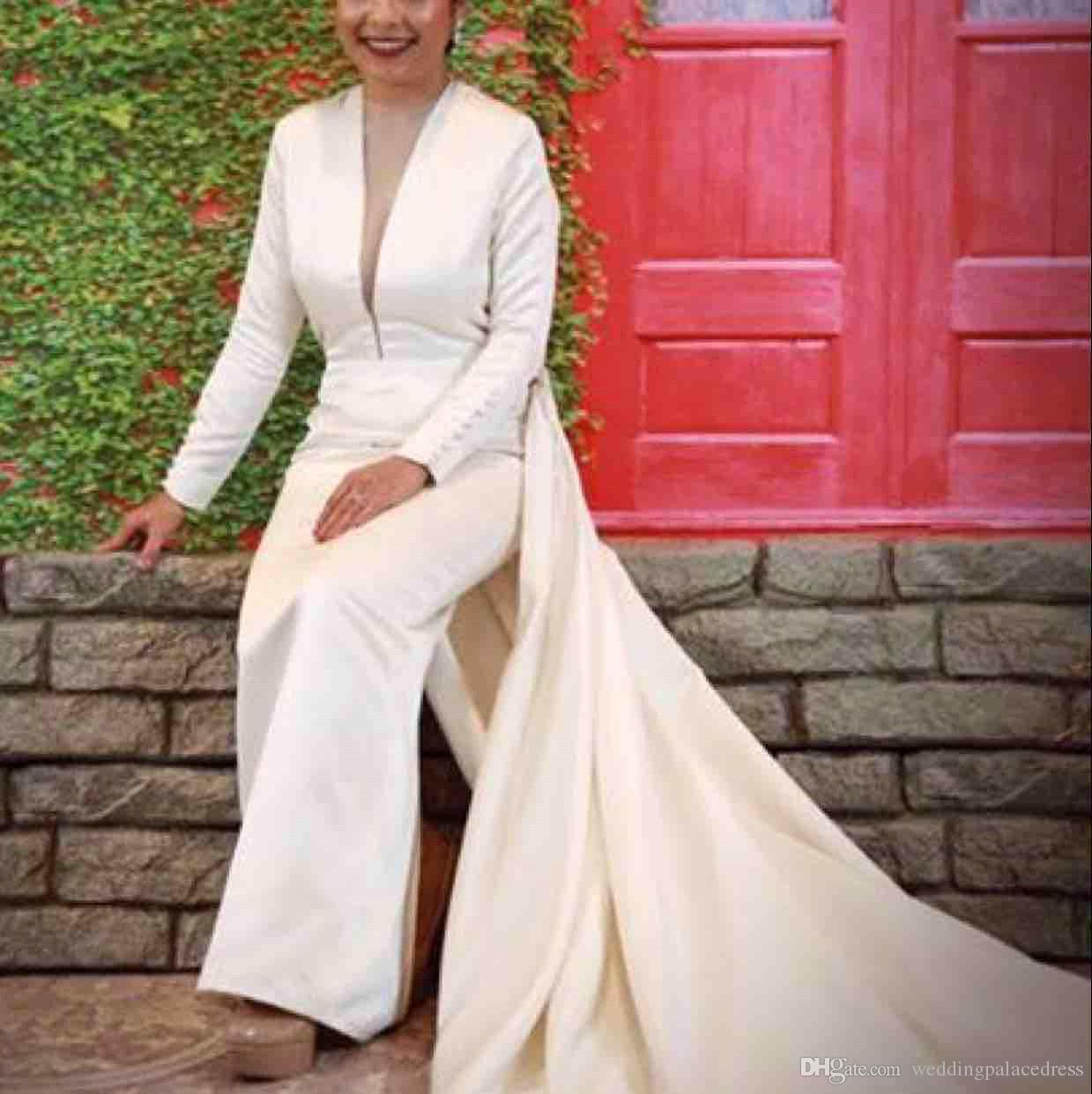 빈티지 저렴한 인어 웨딩 드레스 딥 V 넥 섹시한 긴 소매 웨딩 드레스 신부 드레스 백리스 신부 가운 Vestidos de Novia
