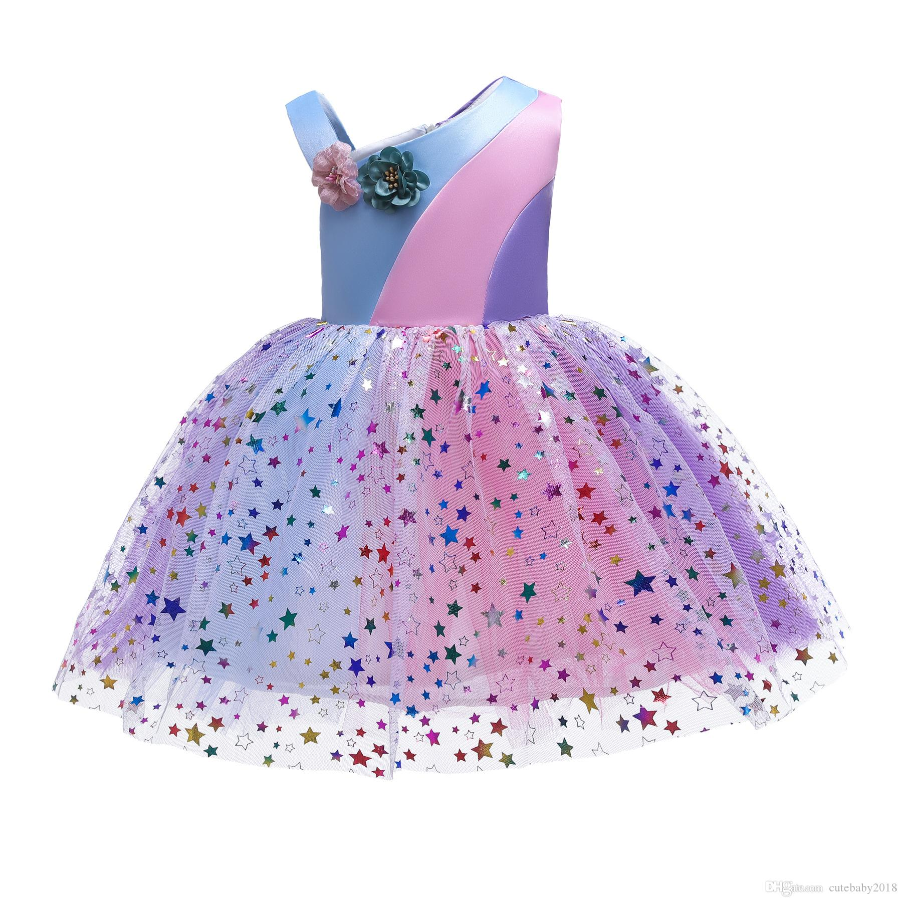 Ins explosion designer baby girls evening dresses rainbow color matching gauze stars flowers party dresses for girls vestido de princesa