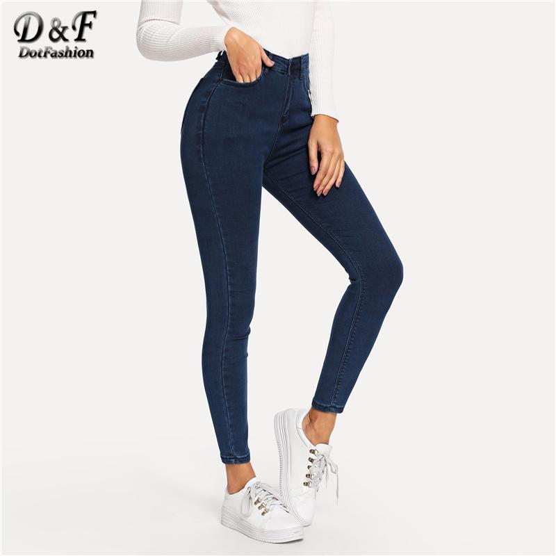 date de sortie: meilleure qualité pour super pas cher se compare à Acheter Dotfashion Marine Plain Jeans Skinny Femme 2019 Printemps Automne  Casual Jeans Taille Haute Jeans Pantalon Slim Boutons Denim Pantalon De ...