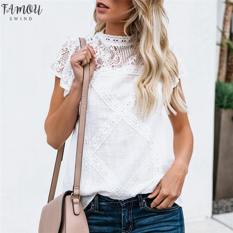 Mode féminine Chemisier en dentelle à manches courtes Patchwork Flare Volants à manches courtes mignon Femmes Floral Débardeurs Blouses Blusas Mujer De Moda 2020