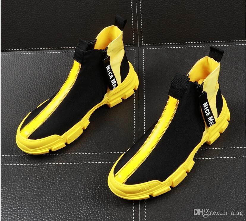 2019 NUEVOS hombres moda transpirable botines casuales verano transpirable zapatillas altas de ocio zapatillas masculinas de fondo grueso botas hombre