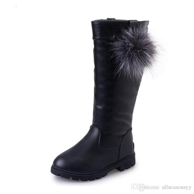 가을 겨울 키즈 PU 가죽 무릎 높은 신발 따뜻한 짧은 봉 제 지퍼 검은 부츠 모피 공 여자 높은 부츠