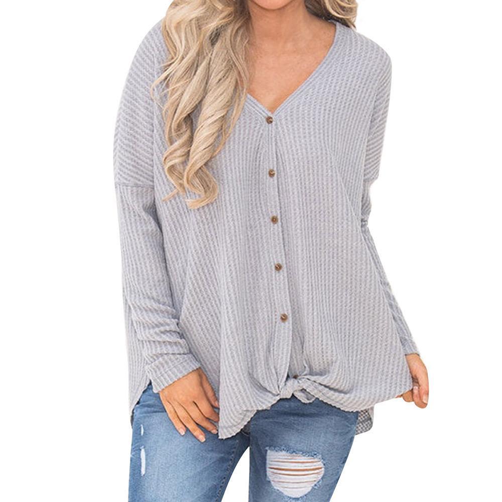 En venta 2019 primavera mujeres damas suéter hLoose Blusa Túnica Nudo Henley Tops Bat Wing Camisas lisas sudadera