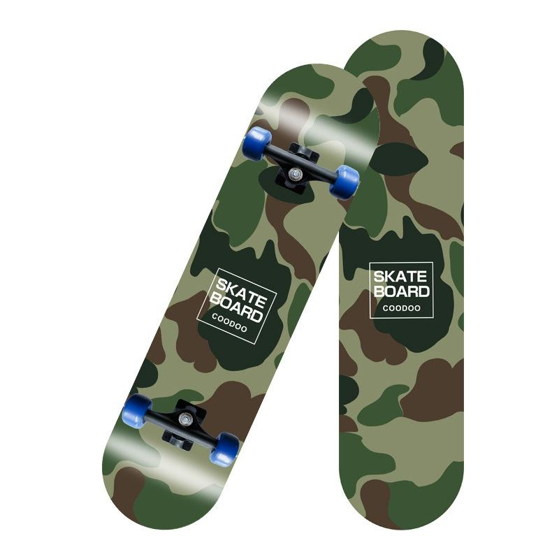 Four-Wheeled Skateboard Double Rocker Highway Brush Street Board Wooden Board Adult Skateboard Scooter