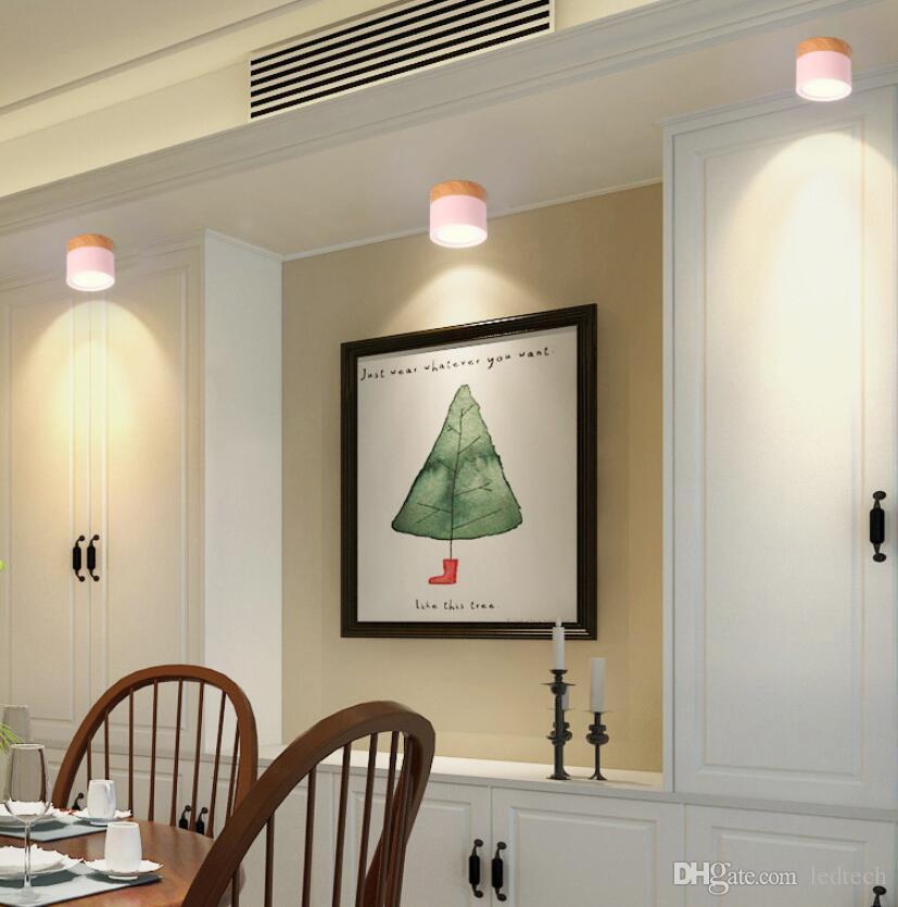 Plafonniers bois nordique 10W 15W Lampe LED plafond pour LED Salon Chambre Chambre Enfants Aisle Corridor Spot Light fixture