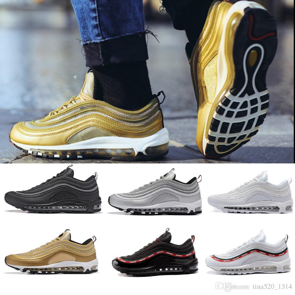 Nike air max 97 جديد Overbranding الأزرق بطل الاحذية للرجال والنساء أسود لامع الذهب ساوث بيتش الأصفر الثلاثي الأبيض مهزوم الرياضية حذاء رياضة أحذية