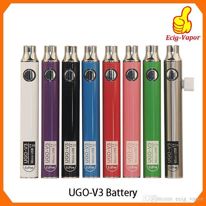 Authentische UGO V III V3 650 900mAh EVOD Ego 510 Batterie 8 Farben Micro USB Charge Passthrough Vape Batterien gegen Spinner 3s Thread Batterie