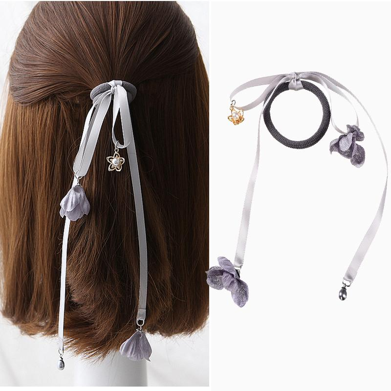M Misme Elegante Chiffon Fiore Elastico Fasce per capelli Moda Ragazze lungo arco del nastro Corda per capelli Perla floreale Hairbands per le donne femminile