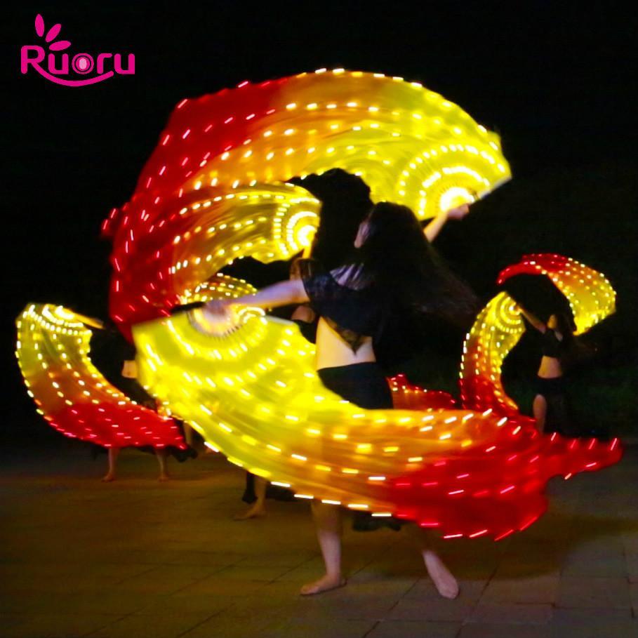 Ruoru 1pcs Led Fan Veil Light Up Belly Dance Veil Belly Dance Accessories Fire Fan Silk Bellydance Performance Props
